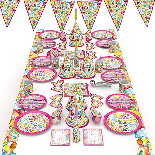 Youfui Candy Party Supplies and Decorations Set Serves 16 for 6 Guests Birthday Event for Girls (Candy Theme)