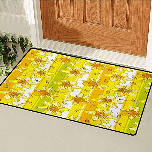 Yellow Flower Inlet Outdoor Door mat Floral Spring Narcissus and Daffodil Jonquil Blooms Striped Backdrop Catch dust Snow and mud W31.5 x L47.2 Inch Yellow Apple Green
