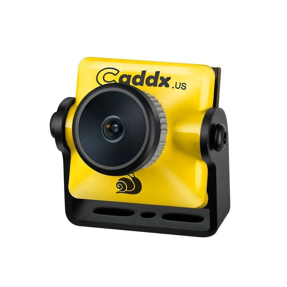Caddx FPV Camera, Turbo Micro S1 FPV Came 1/3'' CCD Sensor 600TVL 2.1mm IR Blocked NTSC DC 5V-40V Wide Voltage for FPV Racing Drone, Yellow