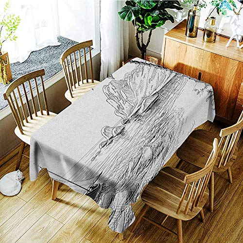 XXANS Waterproof Table Cover,Black and White,Sea Coast Beach with Palm Tree Boat and Hills Exotic Holiday Vacation,Party Decorations Table Cover Cloth,W54x90L Black White