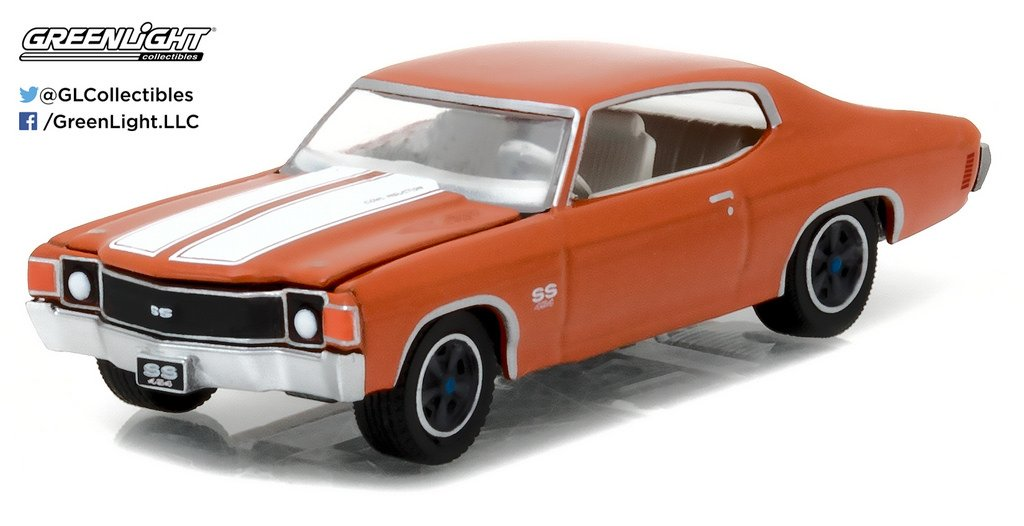 NEW 1 64 GREENLIGHT MUSCLE SERIES 18 COLLECTION ORANGE 1972 CHEVROLET CHEVELLE SS Diecast Model Car By Greenlight