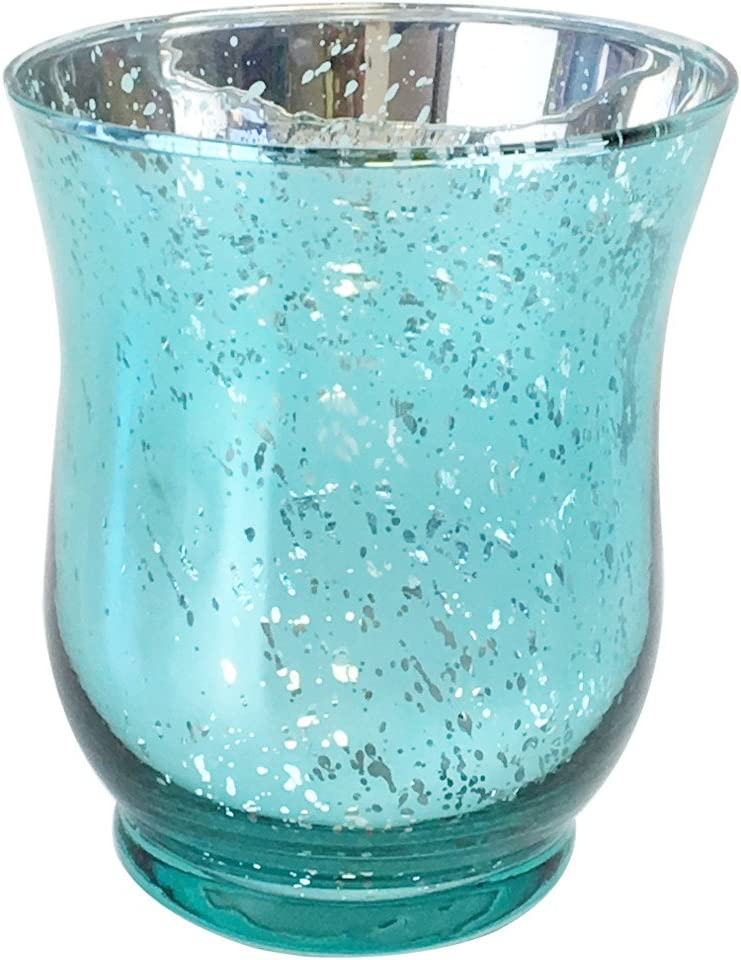 Just Artifacts Mercury Glass Hurricane Votive Candle Holder 4.5-Inch (1pcs, Speckled Aqua)