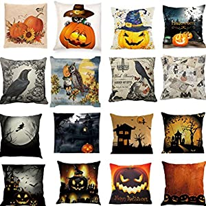 Pumpkin Throw Pillow Cover Halloween Cushion Case 18 x 18 Inch