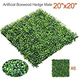 Yaheetech 6PCS 20'' x 20'' Artificial Boxwood Plants Wall Panel Hedge Greenery Garden Home Decorations Green