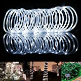 LE 33ft 100 LED Solar Power Rope Lights, Waterproof Outdoor, 6000K, Daylight White, Portable, Light Sensor, Decoration for Christmas Tree, Thanksgiving, Wedding, Party, Garden, Lawn, Patio