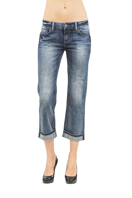 Standards & Practices Women's Stretch Denim Bleach Blast Rolled Boyfriend Jeans