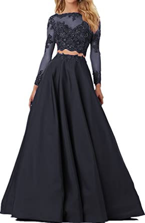 Fashionbride Womens Lace Long Sleeves Prom Dresses Two Pieces Formal Party Gowns F396 F396BK-US2