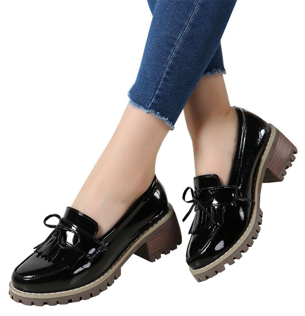 DADAWEN Women's Classic Tassel Slip-On Platform Mid-Heel Square Toe Oxfords Dress Shoes Black US Size 9