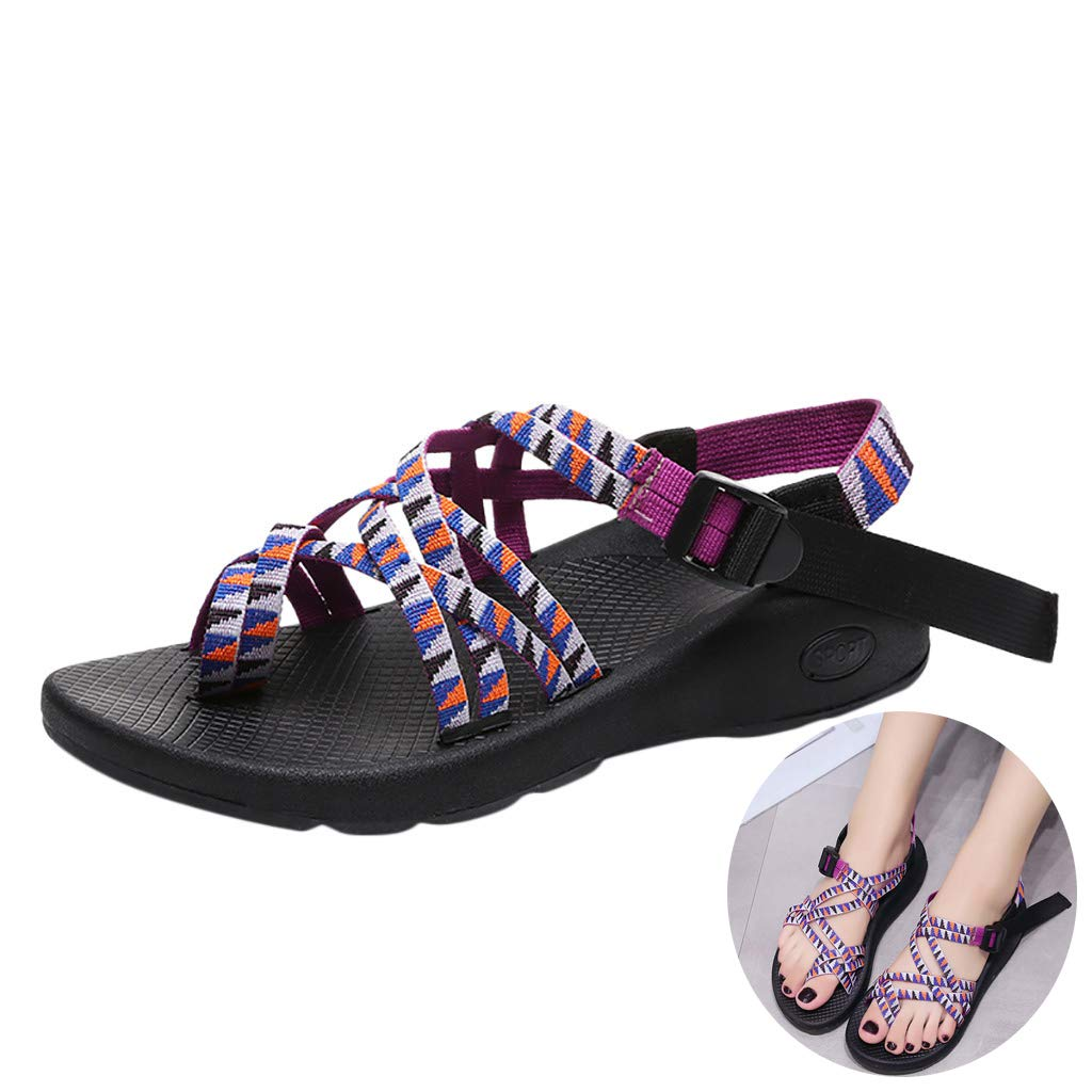 Swiusd Shoes Woman Girls Knit Strap Sport Sandals Ankle Strap Buckle Thick Bottom Sandals Platform Slingback Outdoor Beach Sandals (Purple, 7 M US) by Swiusd Shoes