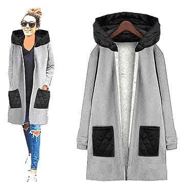 Kleidung Damen DAY.LIN Lange Ärmel Hoodie Mantel Jacke Windjacke Outwear Oben (XL, Grau)