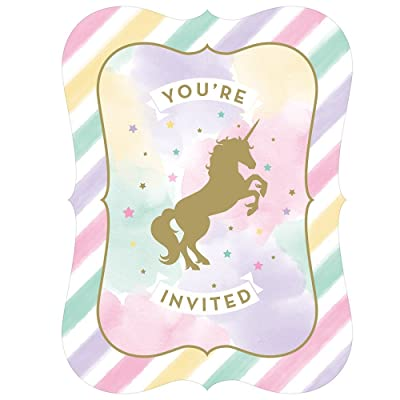 Sparkle Unicorn Invitations, 8 ct: Kitchen & Dining