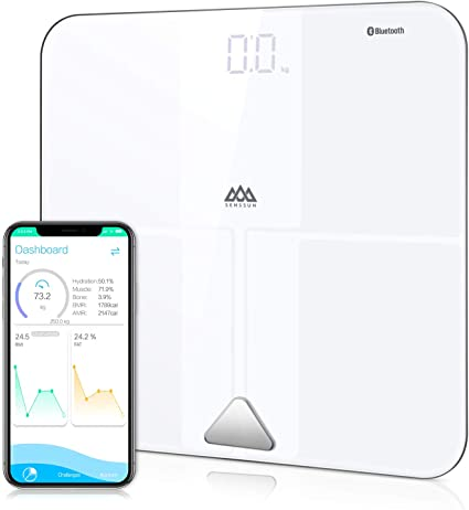 Amazon.com: SENSSUN Bluetooth Body Fat BMI Scale, alta ...