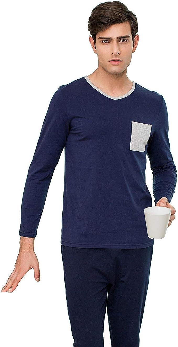 Pijama De Hombre Primavera Verano Pijama Algodón Ropa Largo Slim Loungewear Homewear Pijama Top Y Pantalones De Pijama 2 Piezas: Amazon.es: Ropa y accesorios