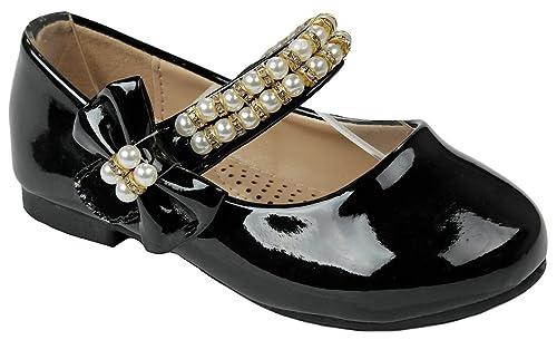 6c923e3d6 Girls Cutey Black Jewels Strap Bow Tie Buckle Comfy Memory Foam Cushioned  Dress Ballet Flat Shoes