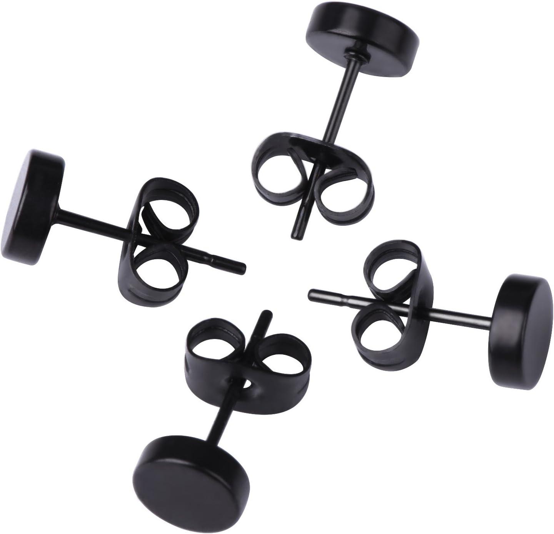 Generic WedDecor Lot de 12 clous doreilles ronds en acier inoxydable pour homme et femme Noir 3-8 mm