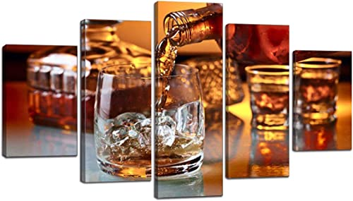 Extra Large Whiskey Painting on Canvas Brown Liquor In Cup Wall Art