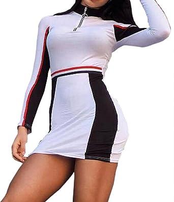 ca8529167ba ARTFFEL Women s Clubwear Color Block Stylish Bodycon Stripe Long Sleeve  Cocktail Party Midi Dress at Amazon Women s Clothing store