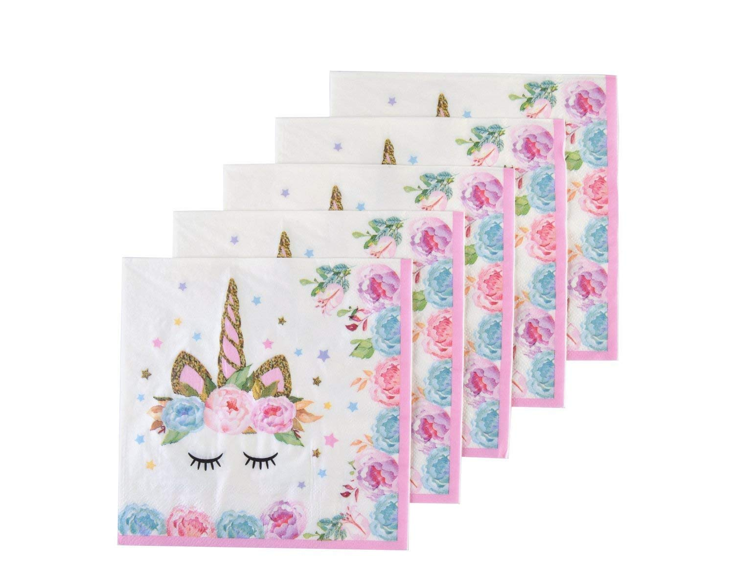 Unicorn Party Supplies for Baby Shower 50 Pck United Unicorns Pink Unicorn Napkins for Girls Birthday Party Unicorn Tableware Disposable Paper Napkins
