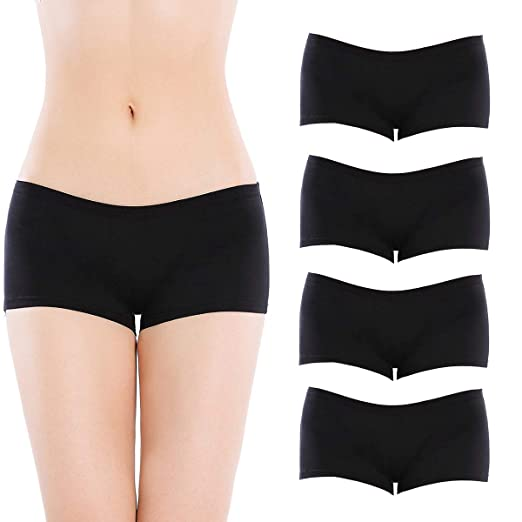 6036e91e9 Closecret Lingerie Women s Comfort Soft Low Rise Cotton Boyshorts Panties(4  Black