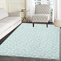 Nautical Print Area rug Curls Swirls Waves Illustration of Sky with Abstract Clouds Japanese Style Indoor/Outdoor Area Rug 4x5 Turquoise White