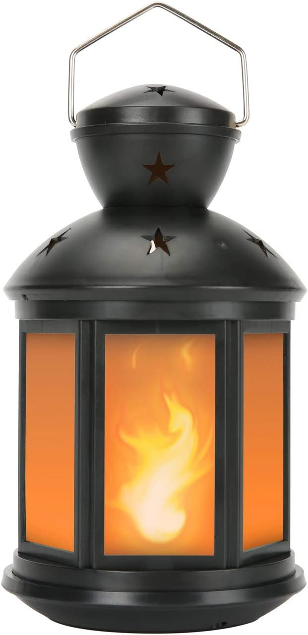 "1pc Zkee 11/"" Vintage Decorative Lantern Flame Effect LED Golden Brushed BLACK"