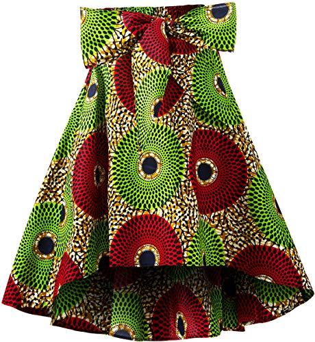 Shenbolen Women African Traditional Costume Flower Print Casual Dashiki Skirt (Medium,I)