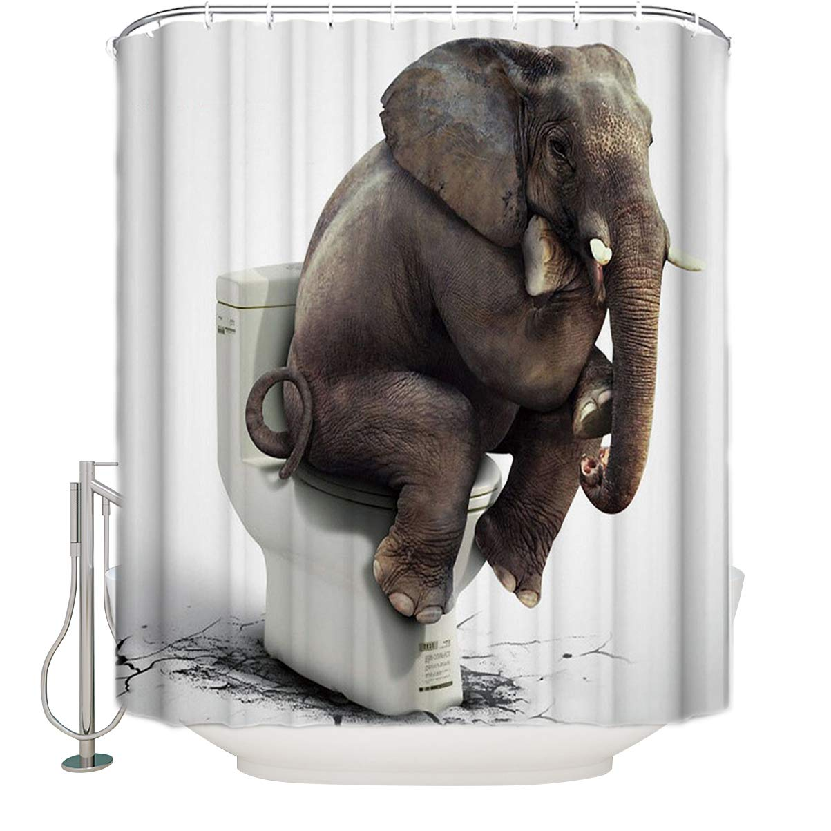 Heavy Duty Shower Curtain Water Resistant Drapes Bath Decor India Elephant Shower Curtains Home, Furniture & DIY