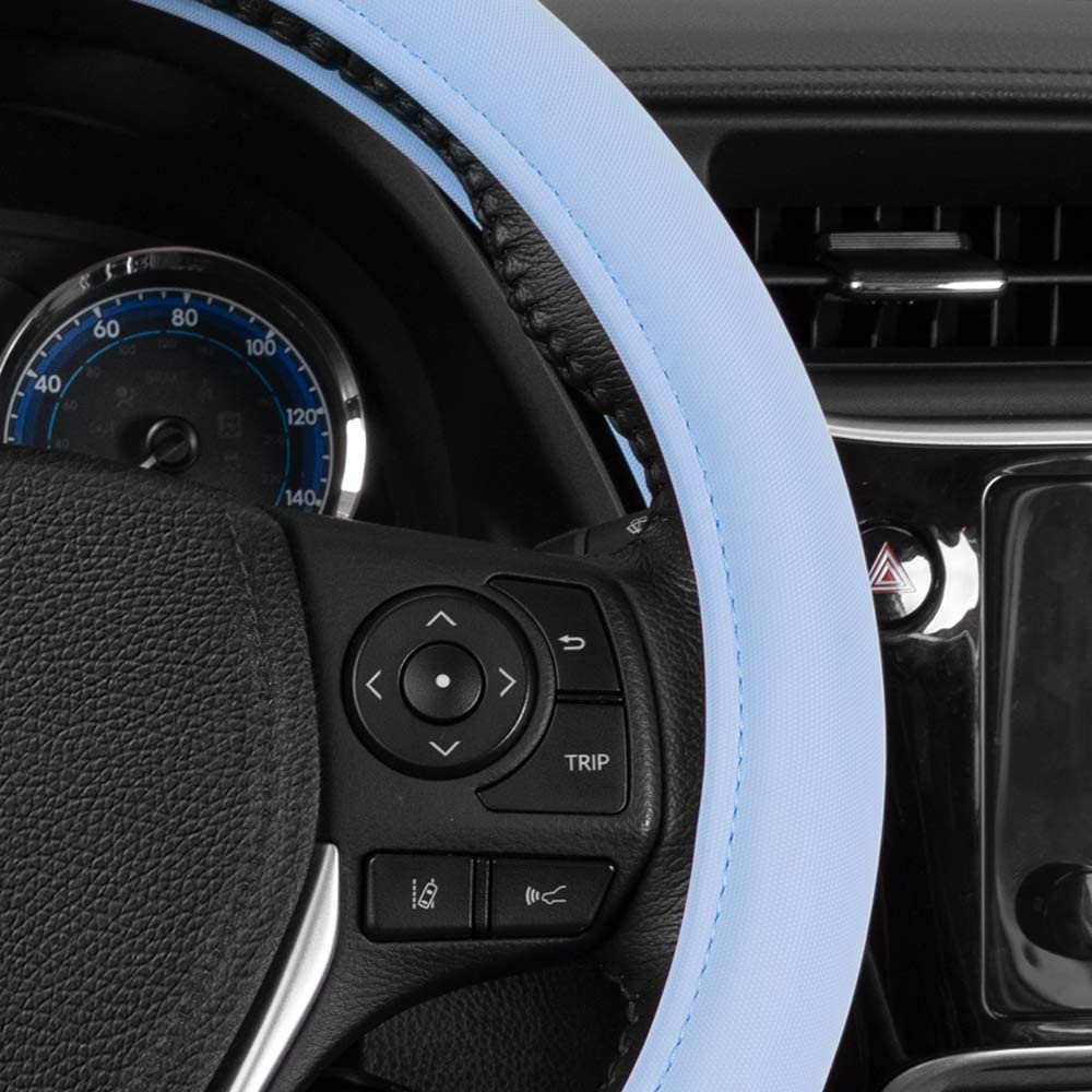 Universal Size 14.5 15 15.5 Inch Baby Blue Sharper Image Ultra Soft Comfy Leather Grip Steering Wheel Cover