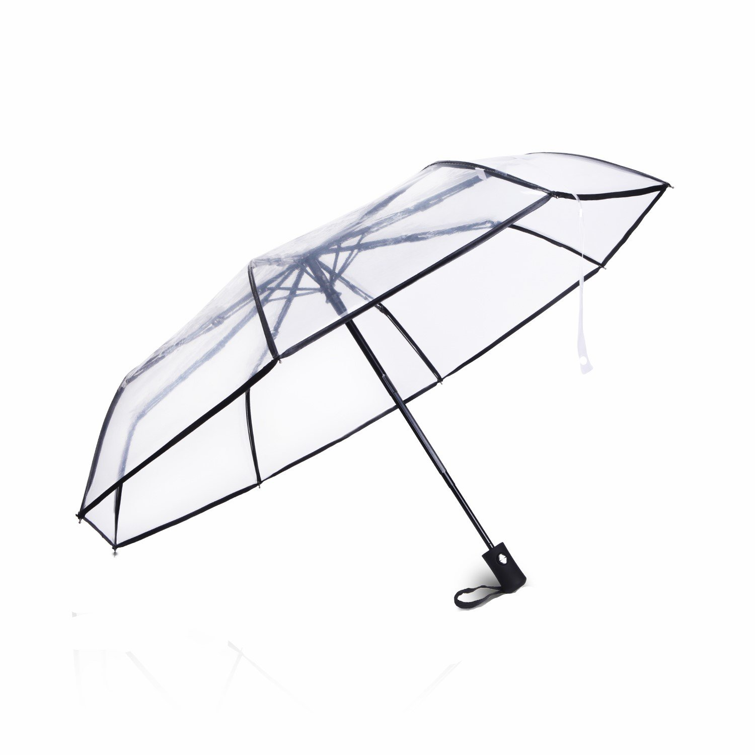 Clear/Transparent Automatic Folding Umbrella,Meiyaa Unisex Colourful Clear Umbrellas (A)