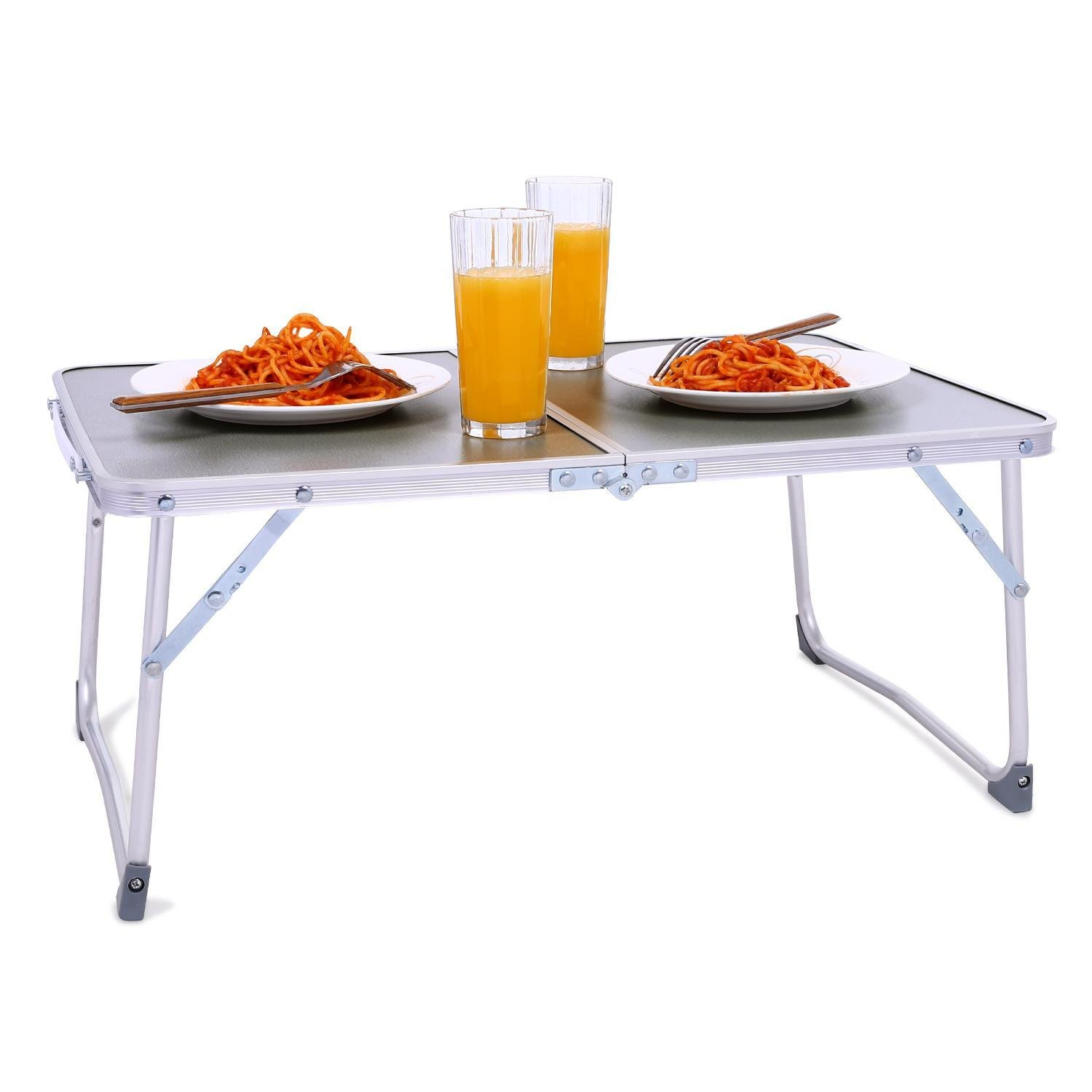 Rapesee Folding Aluminum Table Outdoor Picnic Camping Table 4 Person Portable Adjustable Family Outside Party Dining Desk, 23.74 x 17.80 Inch (Gray)