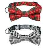 Stock Show 2Pcs/Pack Pet Dog Cat Fashion Bowtie Collar with Cute Detachable Bowknot Charm Pet Adjustable Classic Gentleman Collar for Small Medium Dog Puppy Cat Kitten Kitty, Stripe Grey and Red