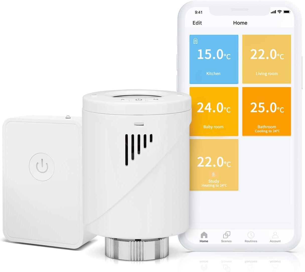 meross Smart-Termostato para radiador con Pantalla LCD, programable Inteligente, para Habitaciones Individuales, Compatible con Alexa, Google Assistant e IFTTT, Hub Incluido MTS100H, Blanco