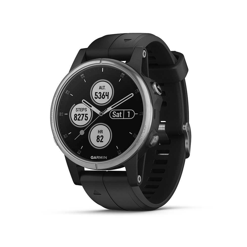 Garmin fēnix 5S Plus, Smaller-Sized Multisport GPS Smartwatch, Features Color TOPO Maps, Heart Rate Monitoring, Music and Garmin Pay, Silver/Black