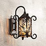 """spanish style house Casa Seville Rustic Outdoor Wall Light Fixture Mediterranean Inspired Dark Walnut Iron Scroll 13 1/4"""" Champagne Hammered Glass for Exterior House Porch Patio - John Timberland"""