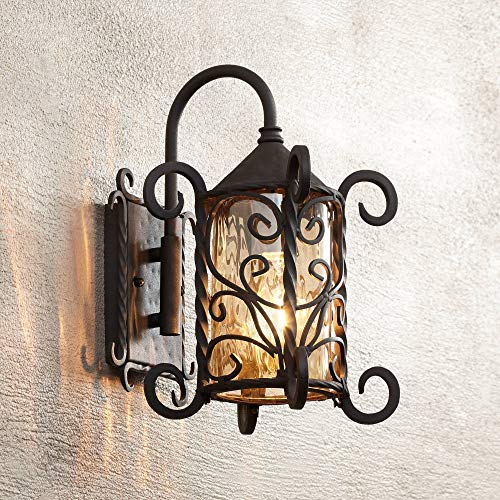 "Casa Seville Rustic Outdoor Wall Light Fixture Mediterranean Inspired Dark Walnut Iron Scroll 13 1/4"" Champagne Hammered Glass for Exterior House Porch Patio - John Timberland"