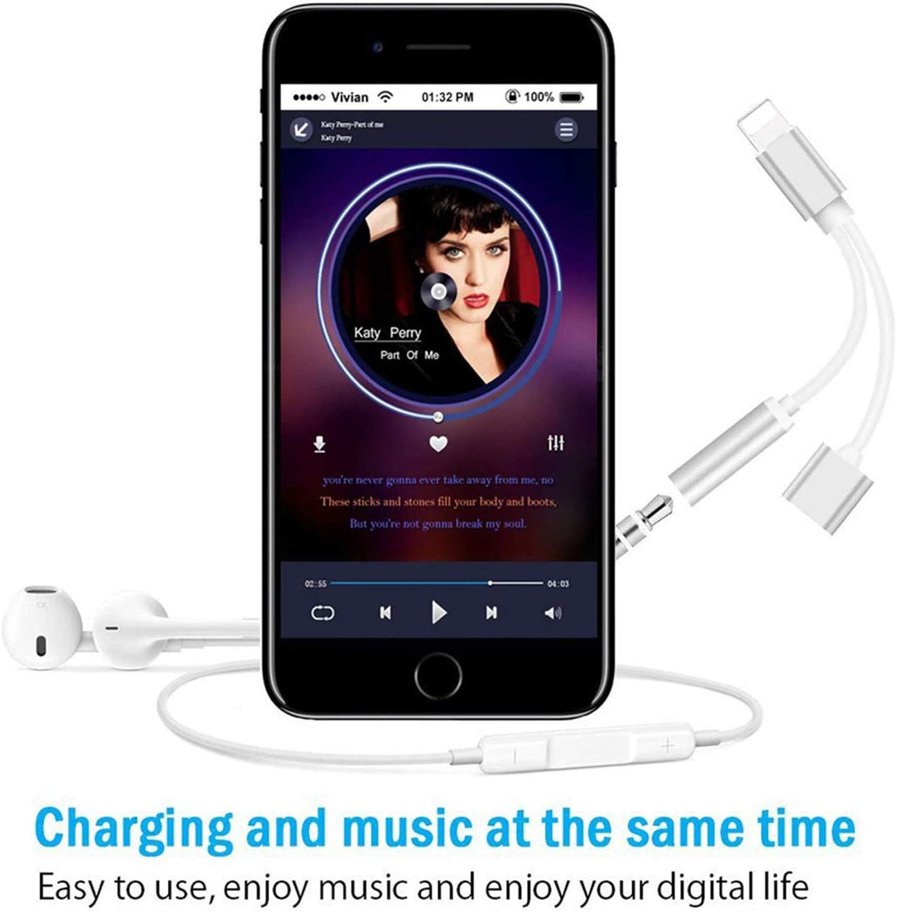 White Headphone Adapter for iPhone 8 Earphone Adapter for iPhone Adapter Headphone Jack to 3.5mm Headphone AUX Audio Jack Adapter Compatible for iPhone 7//7P//8//8P//X//XR//XS//XS Max//11 Support All iOS