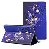 ZAOX Folio Case for All-New Amazon Fire HD 10 Tablet (7th Generation, 2017 Release) - PU Leather Slim Fit Smart Stand Cover with Card Slots Auto Wake/Sleep for Fire HD 10.1' Tablet (Gold Butterfly)