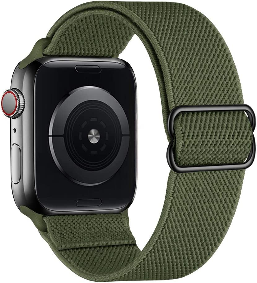 SIRUIBO Stretchy Nylon Solo Loop Bands Compatible with Apple Watch 42mm 44mm, Adjustable Stretch Braided Sport Elastics Women Men Strap Compatible with iWatch Series 6/5/4/3/2/1 SE, Army Green