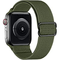 SIRUIBO Stretchy Nylon Solo Loop Bands Compatible with Apple Watch 38mm 40mm, Adjustable Stretch Braided Sport Elastics…