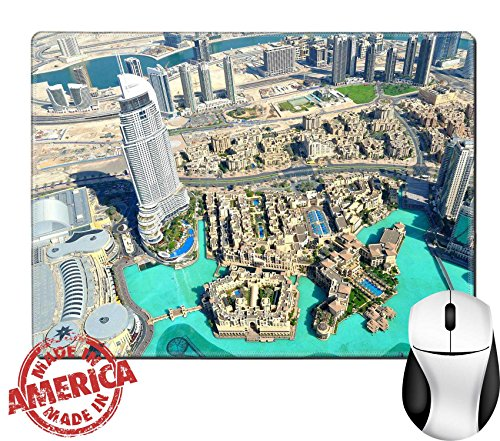 """Luxlady Natural Rubber Mouse Pad/Mat with Stitched Edges 9.8"""" x 7.9"""" Dubai Mall View IMAGE - Mall View Gulf"""