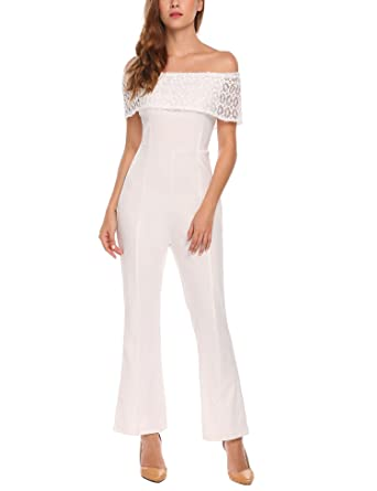 726de22b367 Amazon.com  Zeagoo Women Sexy Off Shoulder Jumpsuits High Waist Wide Leg  Long Pants Lace Rompers  Clothing