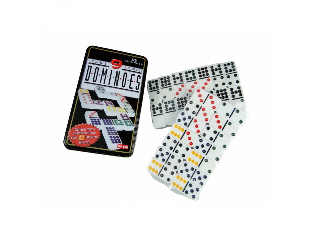 Buy Dominoes Game Double Six Color Dot Set 55 Dominoes Tin Box 55