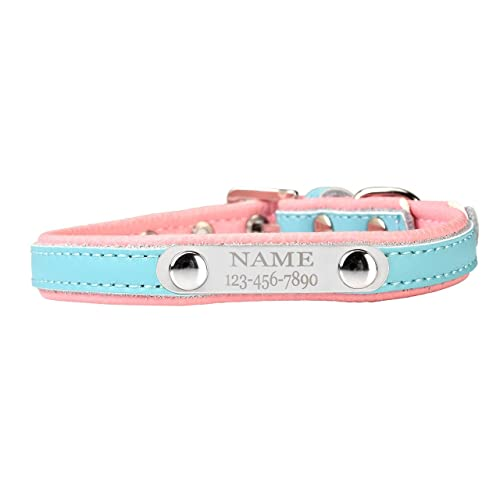 """Mogoko Personalised Custom Engraved Dog Collar, Luxury Leather Adjustable Metal Buckle Neck Collar Stainless Steel Puppy Cat Pet Name Phone Engraved ID Tag Charm Plate (S Fits 10.6""""-13.7"""" Neck, Blue)"""