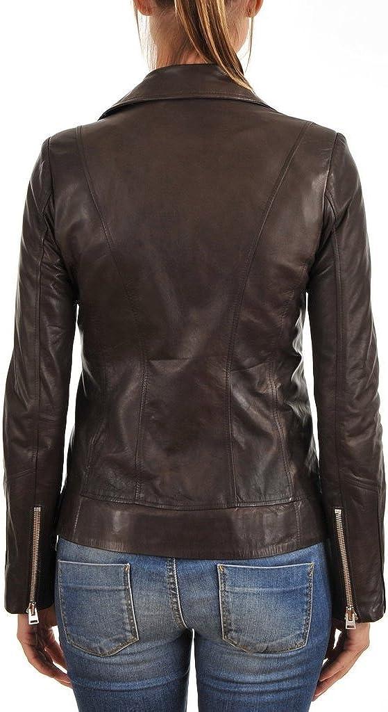L Brown Womens Slim Genuine Lambskin Leather Designer Coat Biker Jacket LTW355