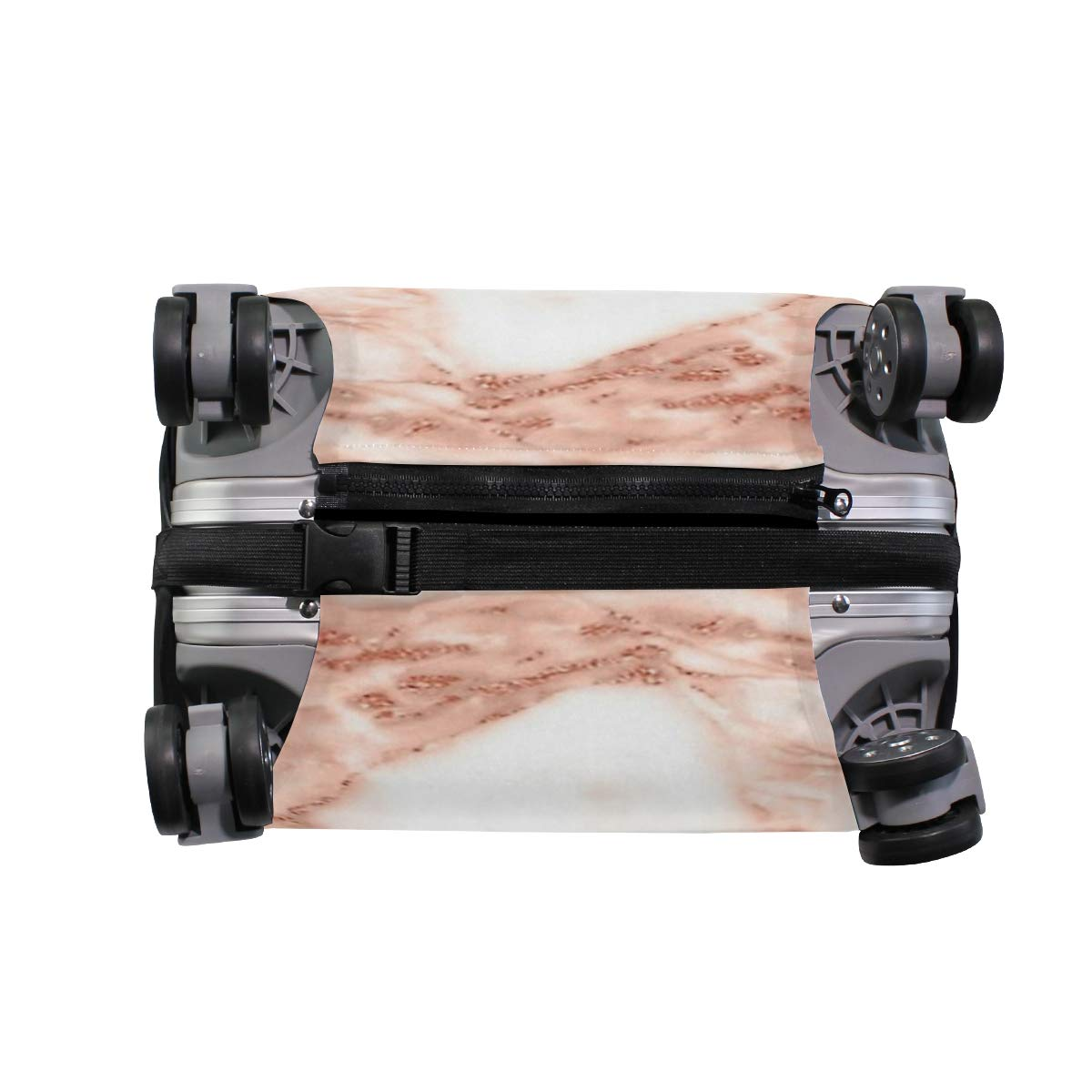 Rose Gold Marble Print Travel Suitcase Protector Zipper Suitcase Cover Elastic