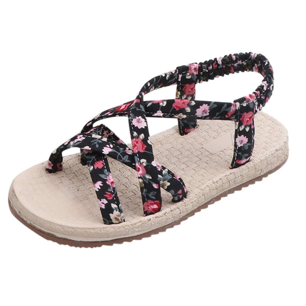Cloudro Kids Little Girl Beach Sandal Roma Cross Tie Floral Soft Shoes for 3-12 Year