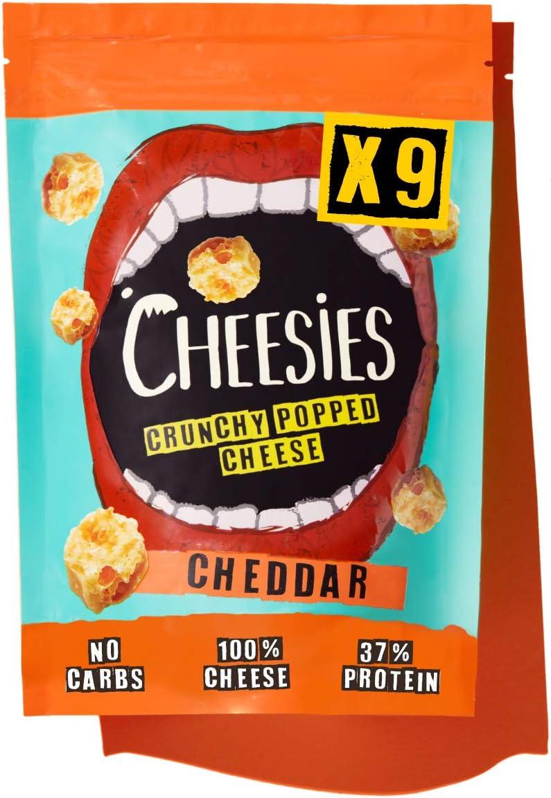 CHEESIES Snack de Queso Crujiente, Cheddar. Sin Carbohidratos, Alto en Proteínas, Sin Gluten, Vegetariano, Ceto. 9 Bolsas de 90g.