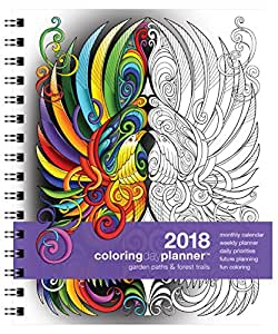 "Action Publishing 2018 Garden Paths & Forest Trails Coloring Day Planner (7"" x 8.5"") January - December, Wire Bound, Archival Quality Paper"