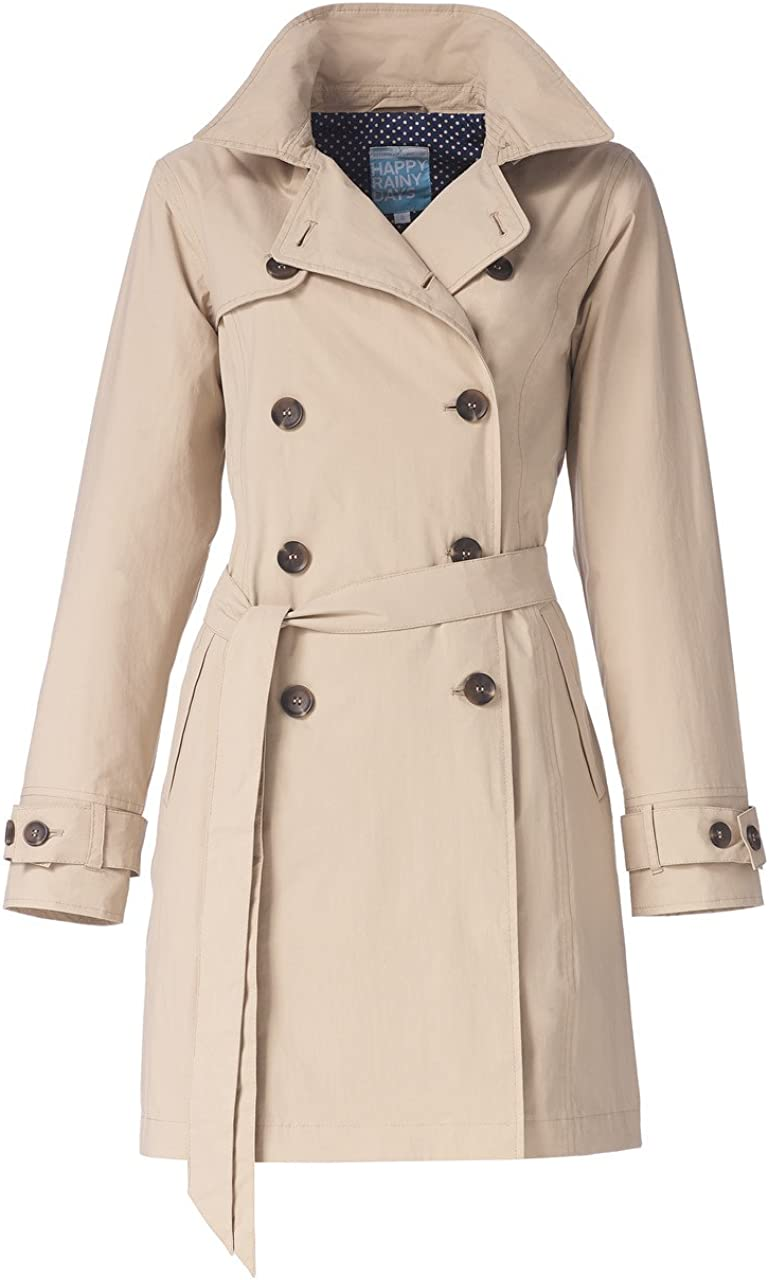 Happy Rainy Days Womens Classic Trench Coat with Removable Hood Small Sand