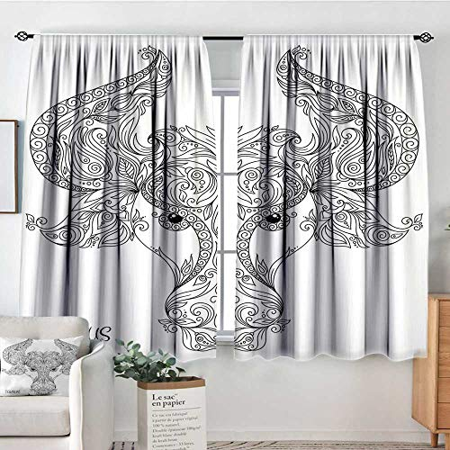 Elliot Dorothy Curtains for Bedroom Zodiac,Astrological Icon Pattern with Curved Flower Lace Style Motifs on Horns Cute Image,Black White,Darkening and Thermal Insulating Draperies 55